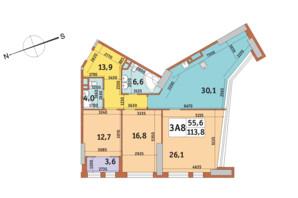 ЖК Manhattan City (Маехеттен Сіті): планування 3-кімнатної квартири 113.8 м²