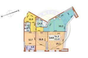 ЖК Manhattan City (Маехеттен Сіті): планування 3-кімнатної квартири 113 м²