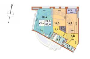 ЖК Manhattan City (Маехеттен Сіті): планування 2-кімнатної квартири 85.6 м²
