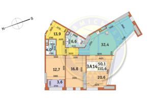 ЖК Manhattan City (Маехеттен Сіті): планування 3-кімнатної квартири 110.6 м²