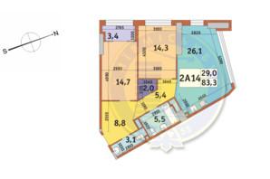 ЖК Manhattan City (Маехеттен Сіті): планування 2-кімнатної квартири 83.3 м²