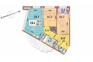 ЖК Manhattan City (Маехеттен Сіті): планування 2-кімнатної квартири 82.3 м²
