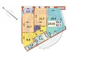 ЖК Manhattan City (Маехеттен Сіті): планування 2-кімнатної квартири 82.2 м²