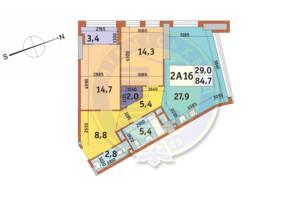 ЖК Manhattan City (Маехеттен Сіті): планування 2-кімнатної квартири 84.7 м²