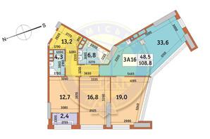 ЖК Manhattan City (Маехеттен Сіті): планування 3-кімнатної квартири 108.8 м²
