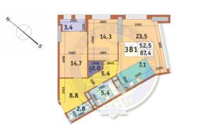 ЖК Manhattan City (Маехеттен Сіті): планування 3-кімнатної квартири 87.4 м²