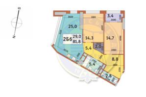 ЖК Manhattan City (Маехеттен Сіті): планування 2-кімнатної квартири 81.8 м²