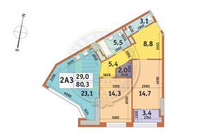 ЖК Manhattan City (Маехеттен Сіті): планування 2-кімнатної квартири 80.3 м²