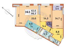 ЖК Manhattan City (Маехеттен Сіті): планування 3-кімнатної квартири 98.2 м²