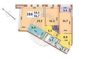 ЖК Manhattan City (Маехеттен Сіті): планування 3-кімнатної квартири 94.7 м²