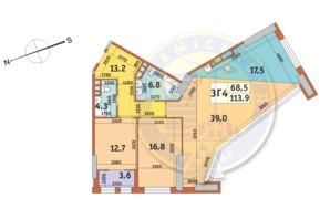 ЖК Manhattan City (Маехеттен Сіті): планування 3-кімнатної квартири 113.9 м²