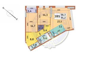 ЖК Manhattan City (Маехеттен Сіті): планування 3-кімнатної квартири 91.2 м²