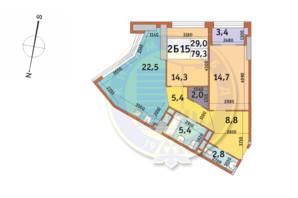 ЖК Manhattan City (Маехеттен Сіті): планування 2-кімнатної квартири 79.3 м²