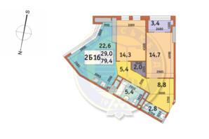 ЖК Manhattan City (Маехеттен Сіті): планування 2-кімнатної квартири 79.4 м²