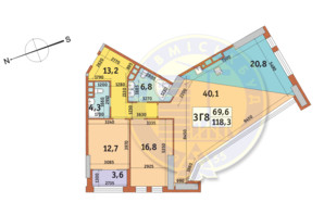 ЖК Manhattan City (Маехеттен Сіті): планування 3-кімнатної квартири 118.3 м²