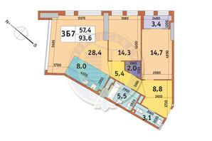 ЖК Manhattan City (Маехеттен Сіті): планування 3-кімнатної квартири 93.6 м²