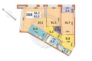 ЖК Manhattan City (Маехеттен Сіті): планування 3-кімнатної квартири 92.5 м²