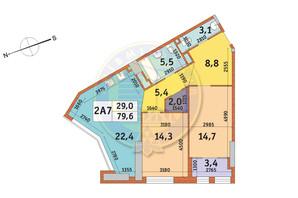 ЖК Manhattan City (Маехеттен Сіті): планування 2-кімнатної квартири 79.6 м²