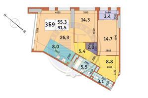 ЖК Manhattan City (Маехеттен Сіті): планування 3-кімнатної квартири 91.5 м²