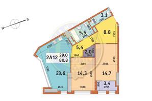 ЖК Manhattan City (Маехеттен Сіті): планування 2-кімнатної квартири 80.8 м²