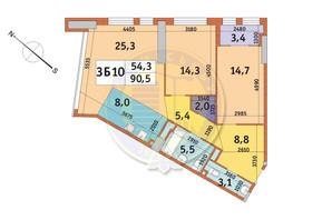 ЖК Manhattan City (Маехеттен Сіті): планування 3-кімнатної квартири 90.5 м²