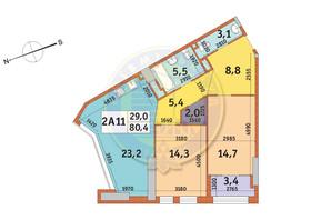 ЖК Manhattan City (Маехеттен Сіті): планування 2-кімнатної квартири 80.4 м²