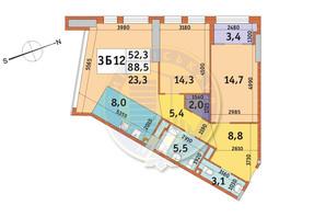 ЖК Manhattan City (Маехеттен Сіті): планування 3-кімнатної квартири 88.5 м²