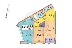 ЖК Manhattan City (Маехеттен Сіті): планування 2-кімнатної квартири 81.4 м²