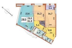 ЖК Manhattan City (Маехеттен Сіті): планування 2-кімнатної квартири 84.8 м²