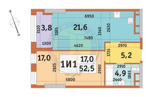ЖК Manhattan City (Маехеттен Сіті): планування 1-кімнатної квартири 52.5 м²