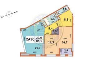 ЖК Manhattan City (Маехеттен Сіті): планування 2-кімнатної квартири 86.5 м²