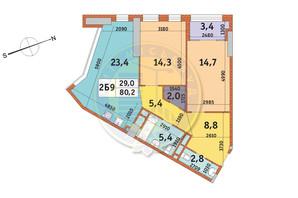 ЖК Manhattan City (Маехеттен Сіті): планування 2-кімнатної квартири 80.2 м²