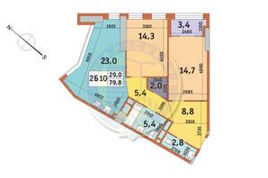 ЖК Manhattan City (Маехеттен Сіті): планування 2-кімнатної квартири 79.8 м²
