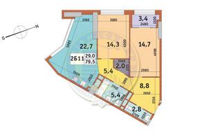 ЖК Manhattan City (Маехеттен Сіті): планування 2-кімнатної квартири 79.5 м²