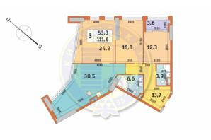 ЖК Manhattan City (Маехеттен Сіті): планування 3-кімнатної квартири 111.6 м²