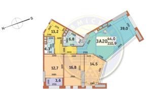 ЖК Manhattan City (Маехеттен Сіті): планування 3-кімнатної квартири 110.9 м²
