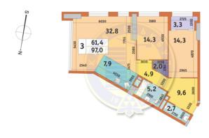 ЖК Manhattan City (Манхеттен Сити): планировка 3-комнатной квартиры 97 м²