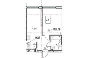 ЖК Manhattan (Манхеттен): планировка 1-комнатной квартиры 39 м²