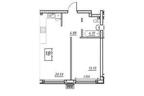 ЖК Manhattan (Манхеттен): планировка 1-комнатной квартиры 42.8 м²