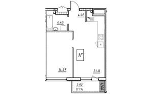ЖК Manhattan (Манхеттен): планировка 1-комнатной квартиры 44.55 м²