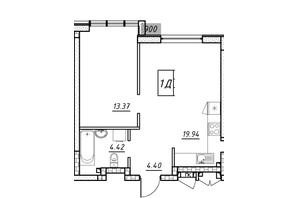 ЖК Manhattan (Манхеттен): планировка 1-комнатной квартиры 40.89 м²