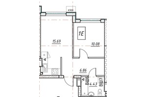 ЖК Manhattan (Манхеттен): планировка 1-комнатной квартиры 36.9 м²