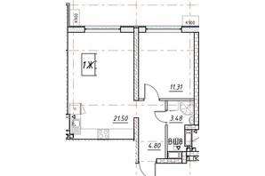 ЖК Manhattan (Манхеттен): планировка 1-комнатной квартиры 40.86 м²