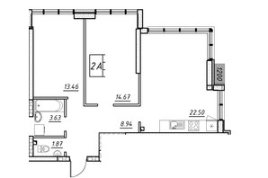 ЖК Manhattan (Манхеттен): планировка 2-комнатной квартиры 57.36 м²