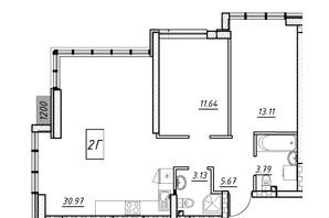 ЖК Manhattan (Манхеттен): планировка 2-комнатной квартиры 59.67 м²