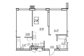 ЖК Manhattan (Манхеттен): планировка 2-комнатной квартиры 61.3 м²