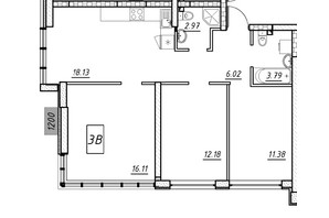 ЖК Manhattan (Манхеттен): планировка 3-комнатной квартиры 64.18 м²