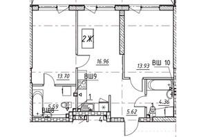 ЖК Manhattan (Манхеттен): планировка 2-комнатной квартиры 90.91 м²