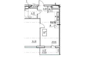 ЖК Manhattan (Манхеттен): планировка 1-комнатной квартиры 45.6 м²