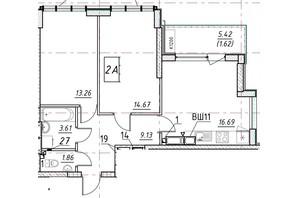 ЖК Manhattan (Манхеттен): планировка 2-комнатной квартиры 59.18 м²